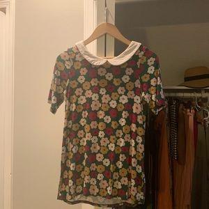 Agnes and Dora floral Peterpan collar  shirt